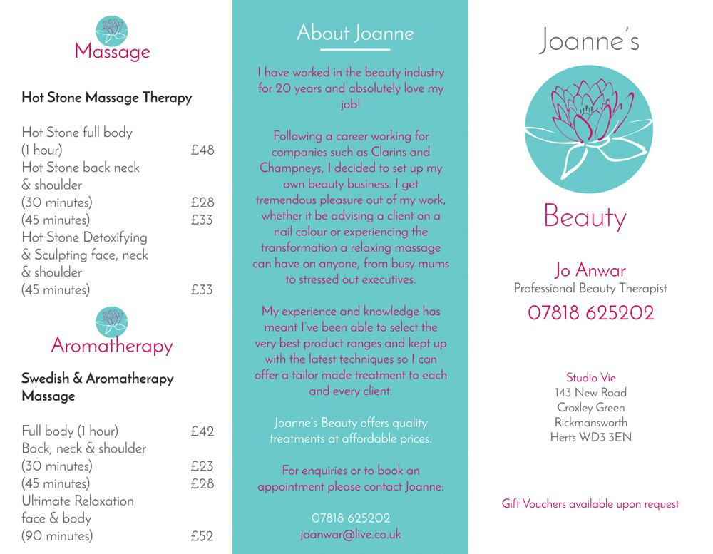 Joanne's Beauty Price List - outside view