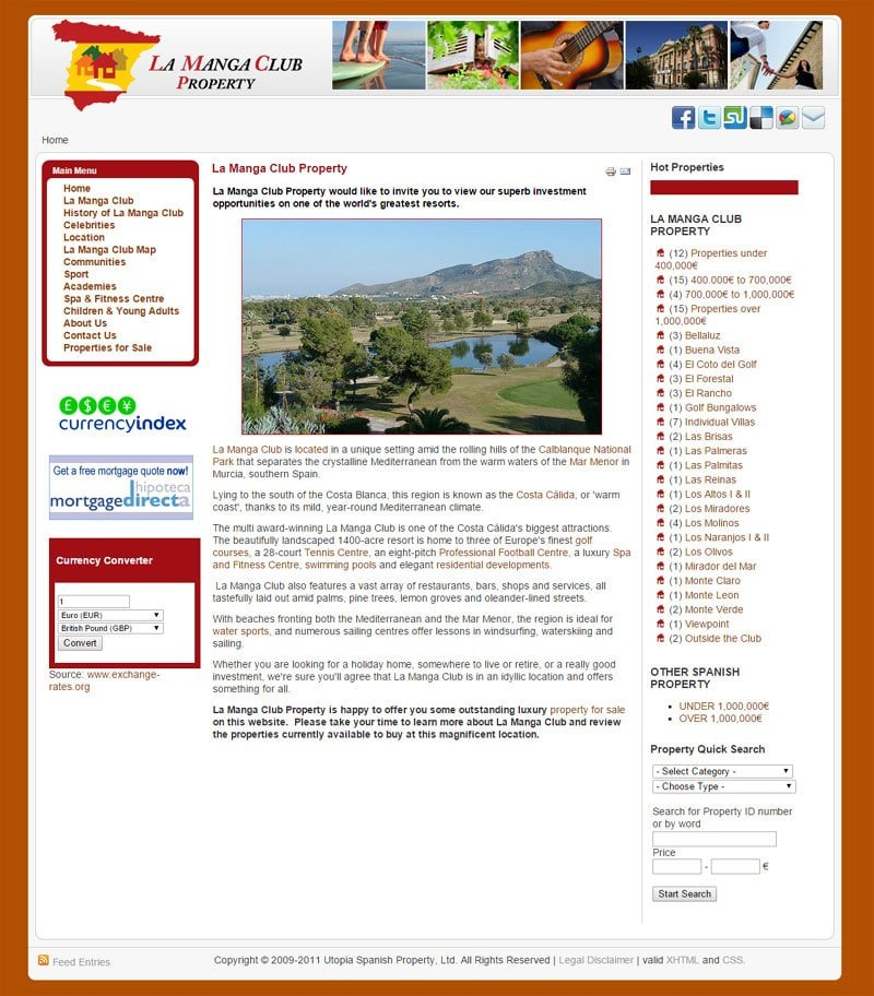La Manga Club Property website